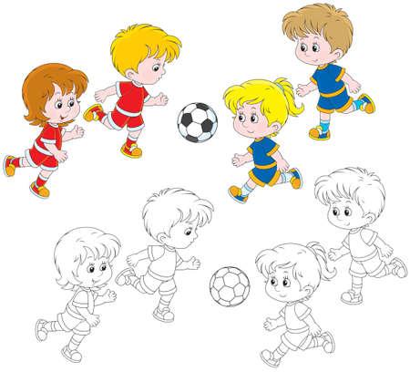 divertirsi: Bambini che giocano calcio Vettoriali