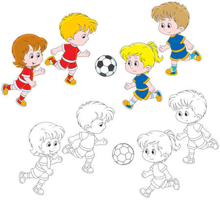 outlined: Children playing football Illustration