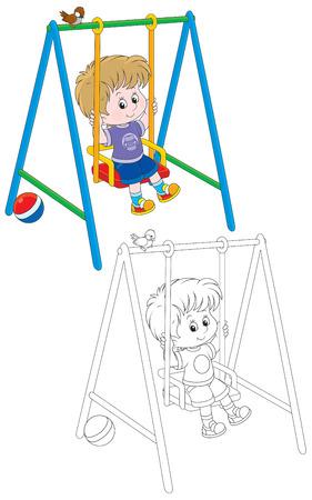 Boy swinging Vector