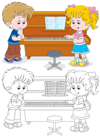 upright piano: girl and boy playing a piano