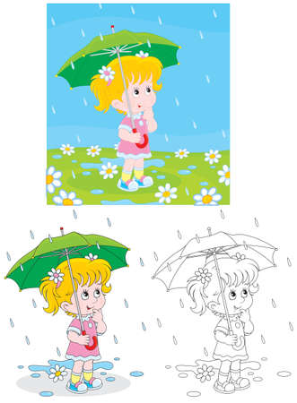 rainy season: Little girl with an umbrella under rain