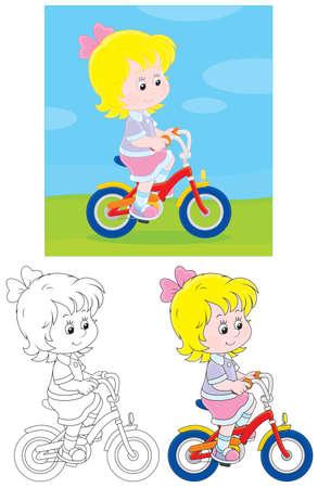 ni�os en bicicleta: Ciclista de chicas Vectores
