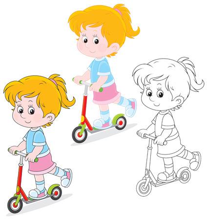 kindergartner: Girl scooterist