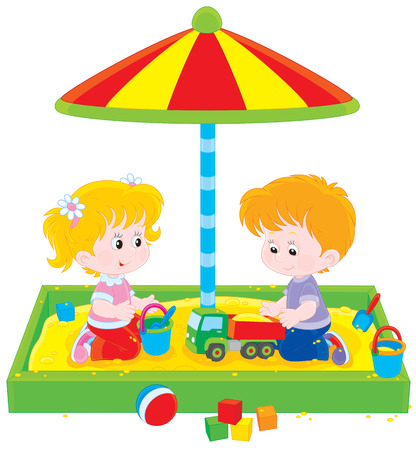 cartoon little girl: Children playing in a sandbox Illustration