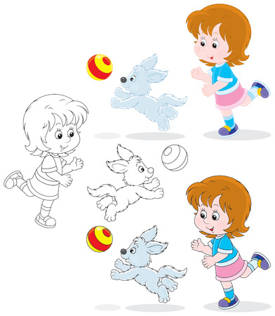 kid s illustration: Little girl playing a ball with her pup