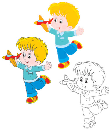 Little boy playing with a toy airplane Vector