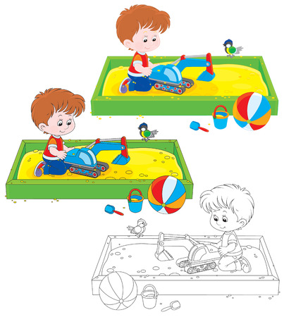 sandbox: boy playing with a toy excavator in a sandbox Illustration