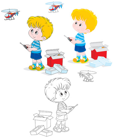 toy plane: Little boy playing with a new toy helicopter Illustration