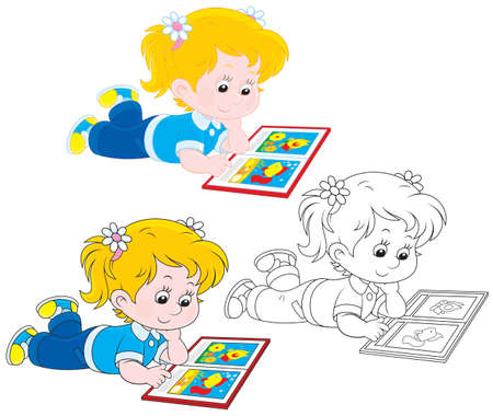 children s: Girl reading Illustration