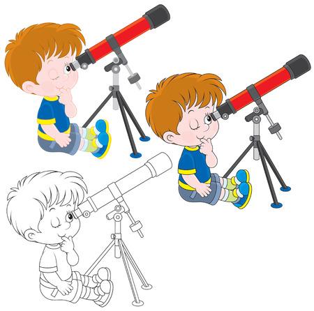 niño: Muchacho mirando a través de un telescopio Vectores