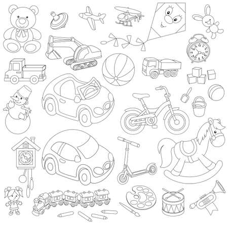 outline drawing: Set of children s toys