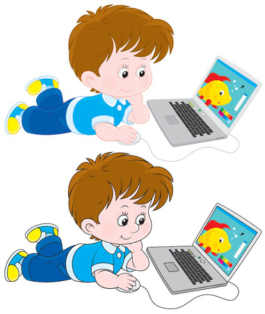 person on computer: Boy with a laptop