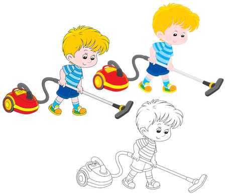 cleaning up: Boy with a vacuum cleaner