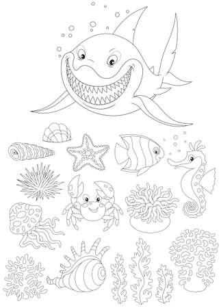 horsefish: Animales de mar Vectores