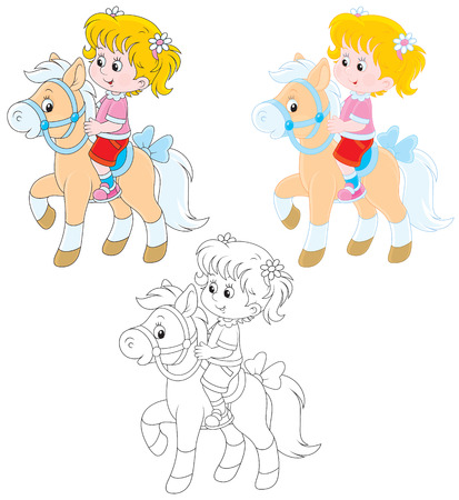 Girl riding a pony Illustration
