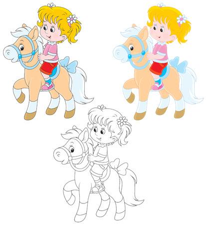 tot: Girl riding a pony Illustration