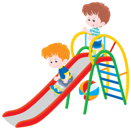 Children on a slide Vector
