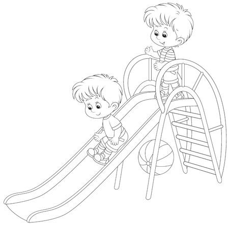 Little boys on a slide Vector