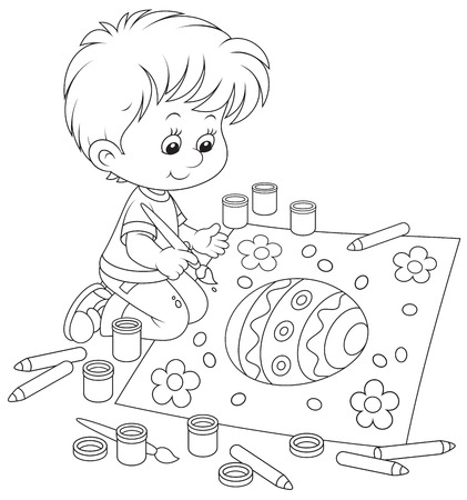 Kid drawing an Easter egg Vector