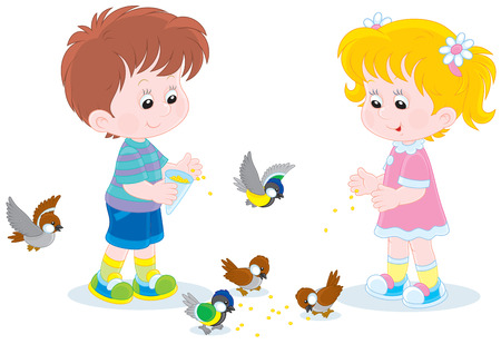 chickadee: Children feed small birds