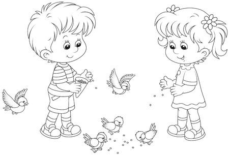 niño y niña: Gorriones Niño y niña de alimentación y herrerillos Vectores