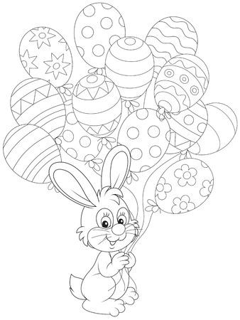 cottontail: Conejo de Pascua con globos de vacaciones