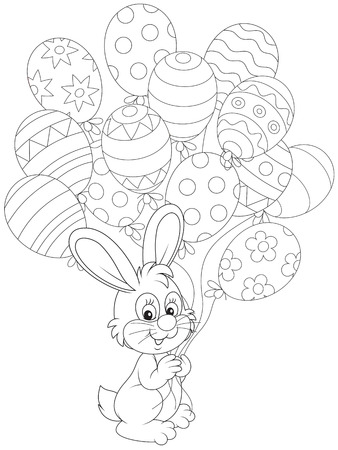 Easter Bunny with holiday balloons