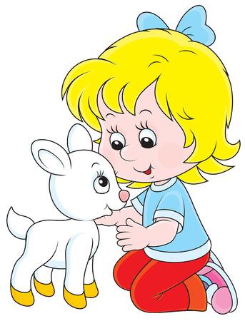 caresses: Little girl caresses a small white goatling Illustration
