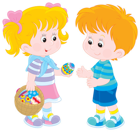 pre school: Girl and boy on Easter Day