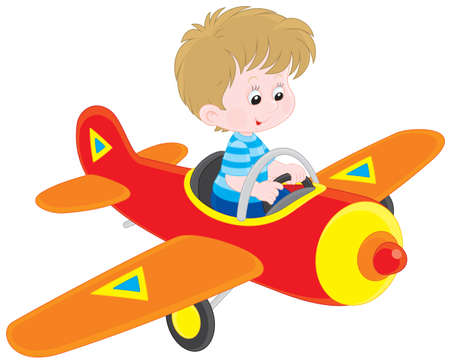 toy plane: Little boy flying a toy plane