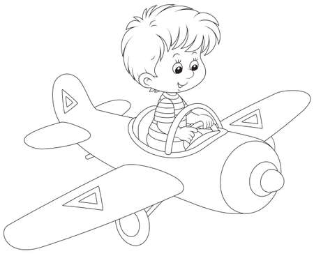 boy flying a toy plane Vector