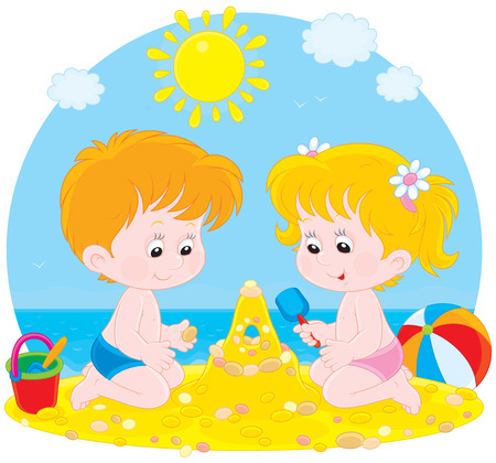 child of school age: Children play on a beach Illustration