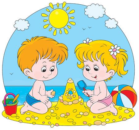 chateau de sable: fille et gar�on construire un ch�teau de sable sur une plage Illustration