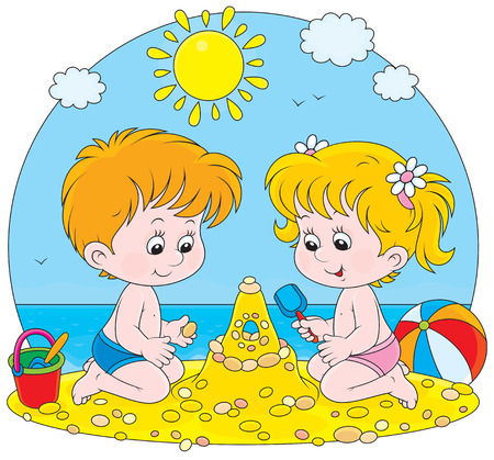 plage: girl and boy building a sand castle on a beach