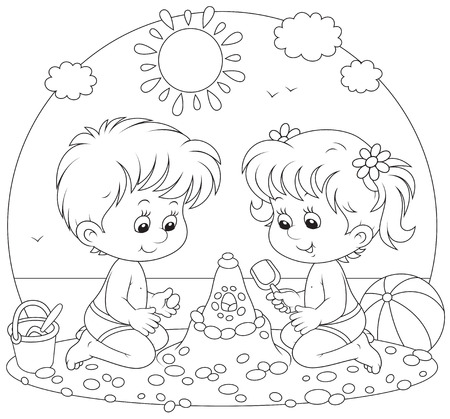 sunny beach: Children playing on a beach Illustration
