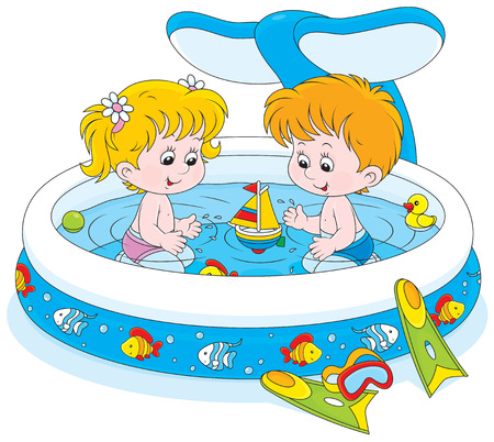 child of school age: girl and boy playing in an inflatable paddling pool