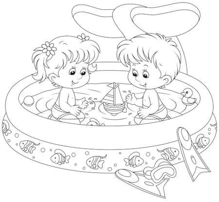 children s book: Children in a kids pool