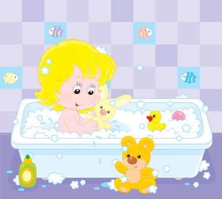 Little girl playing with toys in a bath with foam Vector