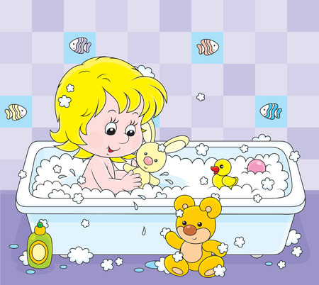 cartoon bathing: girl playing with toys in a bath