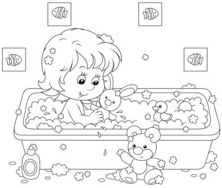 higiena: Dziewczyna w kąpieliskach Ilustracja