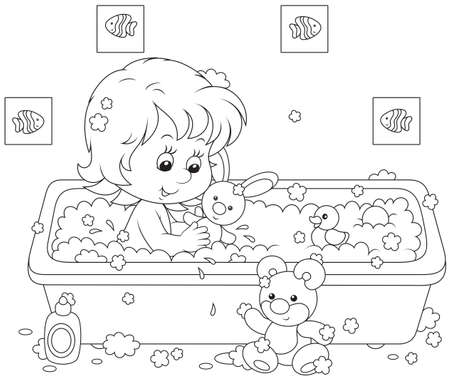 little girl bath: Girl bathing