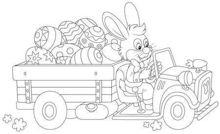Bunny carries Ester eggs Vector