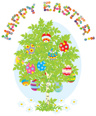 eastertide: Easter eggs on a green tree