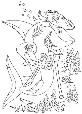 squalo bianco: Grande squalo bianco con un cappello da pirata e sciabola