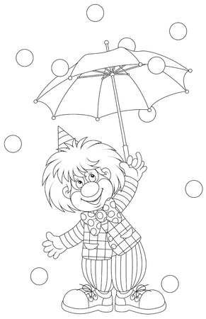 divert: Clown with an umbrella