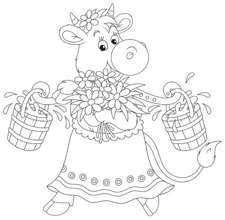 folk tales: Milk Cow Illustration