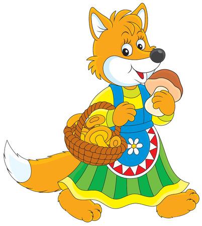 folktale: fox caminando con una cesta de setas Vectores