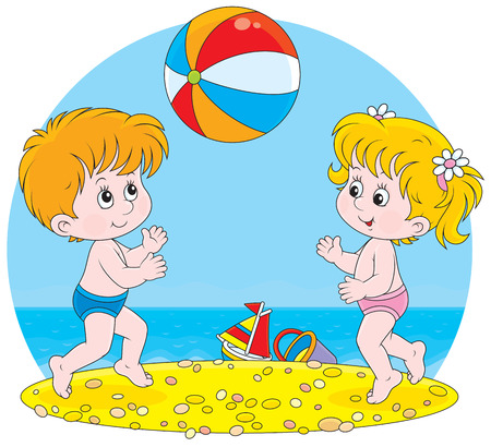 child of school age: Little girl and boy playing with a ball on a beach