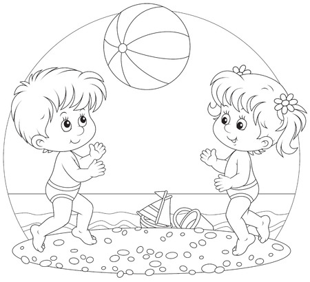 outlined: Children play a ball on a beach Illustration
