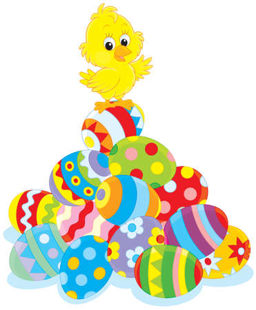 Easter Chick on a pile of painted eggs Vector